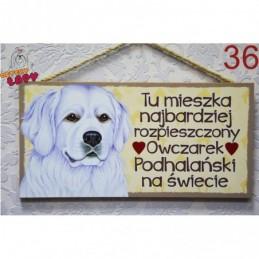 """Tabliczka z rasą psa """"Owczrek Podhalański"""""""